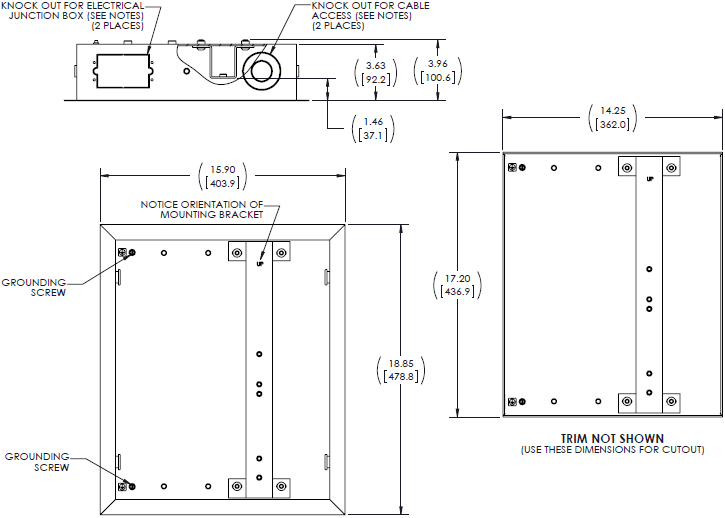Technical Drawing for Chief TA502 Small Thinstall In-Wall Swing Arm Accessory
