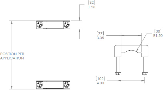 Technical Drawing for Chief TPK2 Pole Clamp Kit for 2 to 3