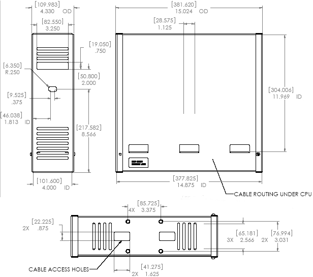Technical Drawing for Chief CMA170 In Ceiling Storage Enclosure CMA-170