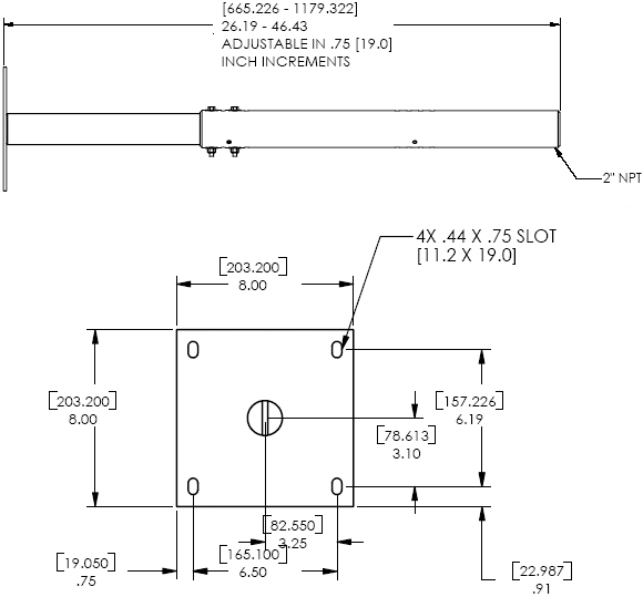 Technical Drawing for Chief CMA260 Ceiling Plate with Adjustable Extension Column