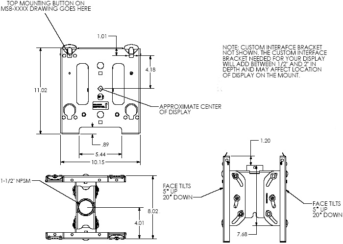 Technical Drawing of Chief MCDV Medium Dual Ceiling Mount