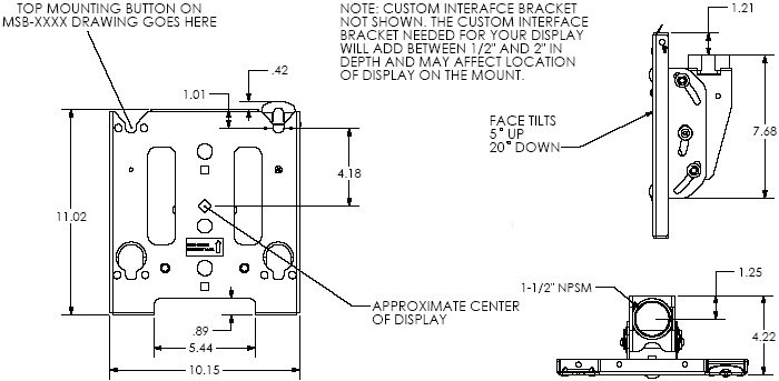 Technical Drawing of Chief MCS6000B Medium Single Ceiling Mount