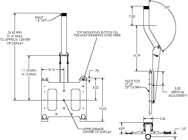 Technical Drawing of Chief PCM2000 Large Ceiling Mount with Angled Column