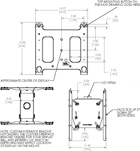 Technical Drawing of Chief PDC2000B Large Dual Ceiling Mount