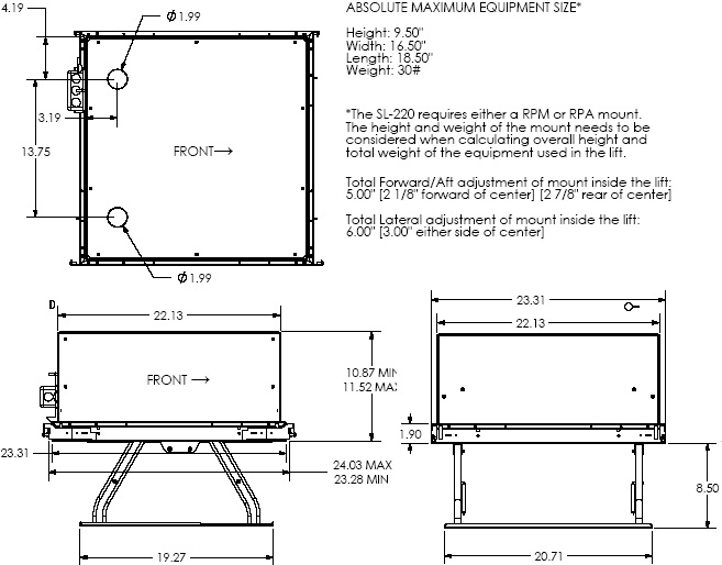 Technical Drawing of Chief SL220 Smart Lift Lightweight Automated Projector Lift