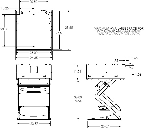 Technical Drawing of Chief SL236FD Smart Lift Automated Projector Mount
