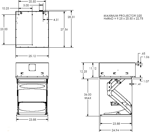 Technical Drawing of Chief SL236SP Smart Lift Automated Projector Mount