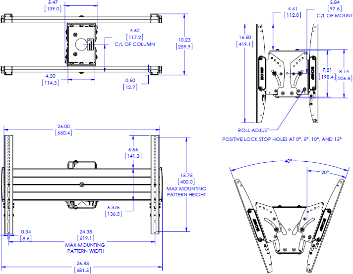 Technical drawing for Chief LCB1U FUSION Large Back-to-Back Display Ceiling Mount
