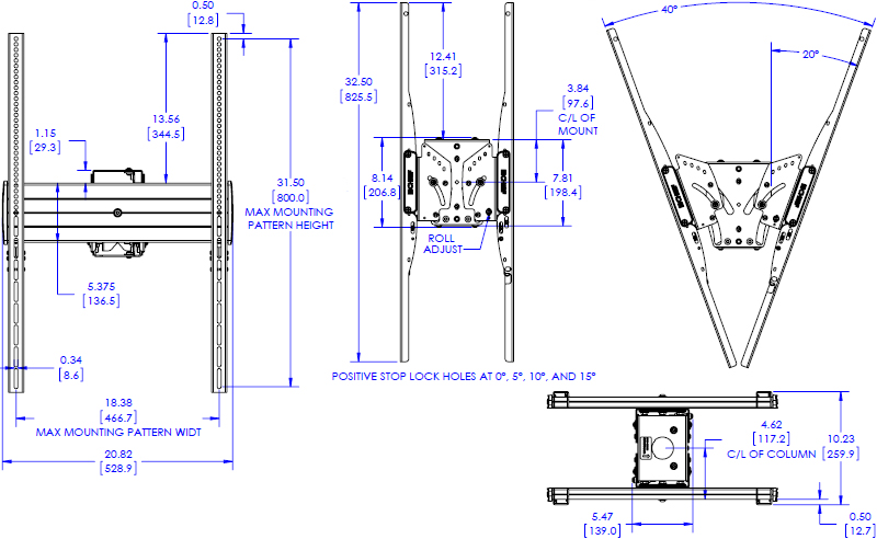 Technical drawing for Chief LCB1UP FUSION Large Portrait Back-to-Back Ceiling Mount
