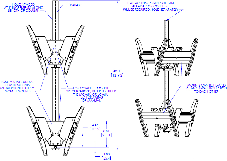Technical drawing for Chief LCB1X2U Fusion Large Back-to-Back Stacked Ceiling Mounts