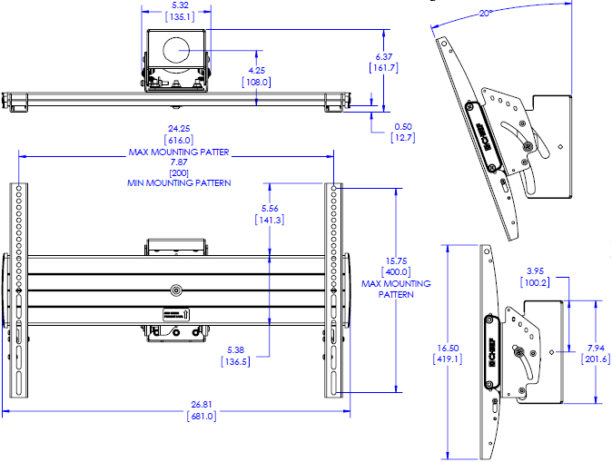 Technical drawing for Chief LCM1U FUSION Large Single Flat Panel Ceiling Mount