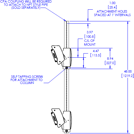 Technical drawing for Chief LCM1X2U FUSION Large Ceiling Mounted 1 x 2 Stacker