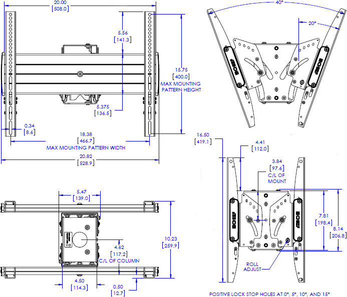 Technical drawing for Chief MCB1U FUSION Medium Back to Back Display Ceiling Mount