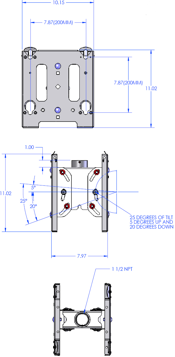 Technical Drawing for Chief MCDV Universal VESA Dual Ceiling Mount