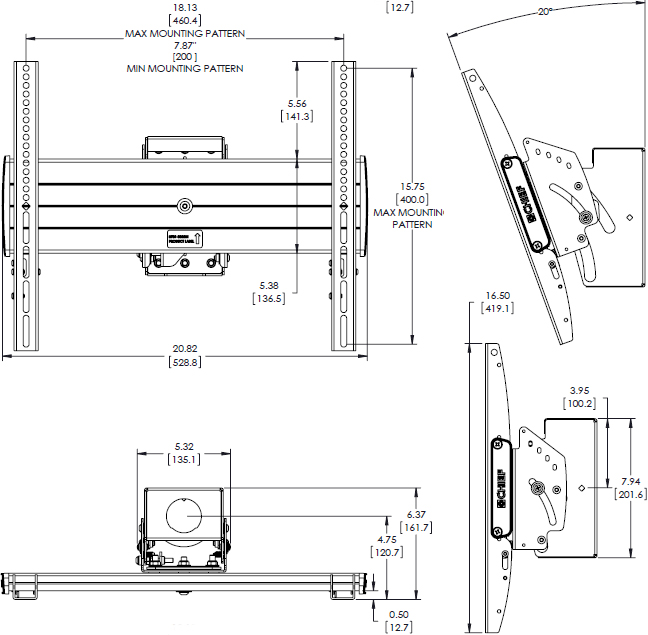 Technical drawing for Chief MCM1U FUSION Medium Single Flat Panel Ceiling Mount
