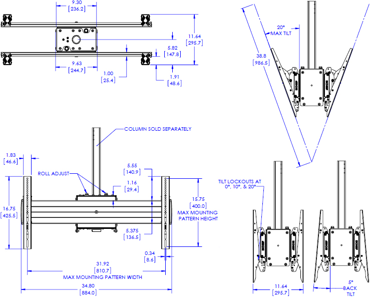 Technical Drawing for Chief XCB1U X-Large Single Pole Back to Back Ceiling Mount