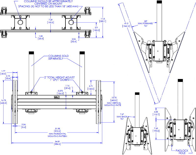 Technical drawing for Chief XCB7000 X-Large Dual Pole Back to Back Ceiling Mount