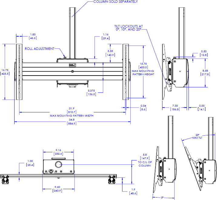 Technical drawing for Chief XCM1U FUSION X-Large Single Pole Flat Panel Ceiling Mount