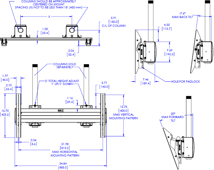 Technical drawing for Chief XCM7000 FUSION X-Large Dual Pole Flat Panel Ceiling Mount