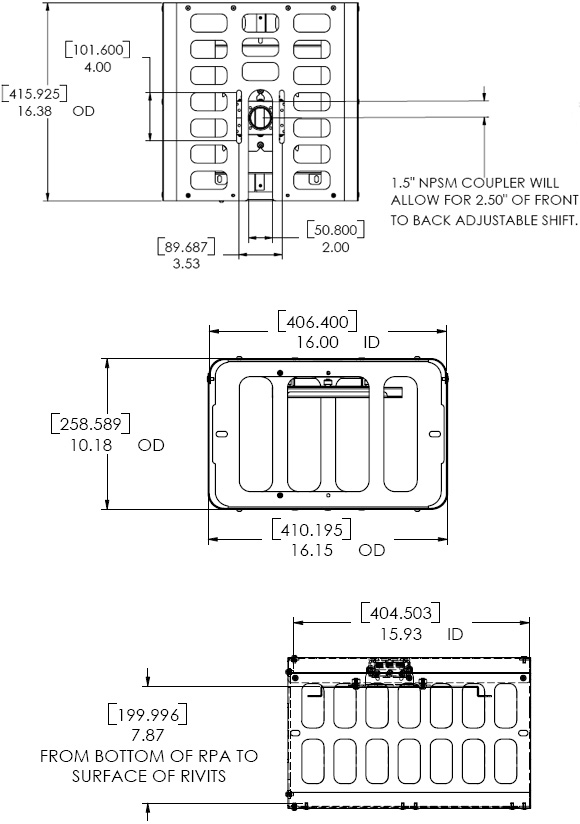 Technical Drawing for Chief PG2A Small Projector Guard Security Cage