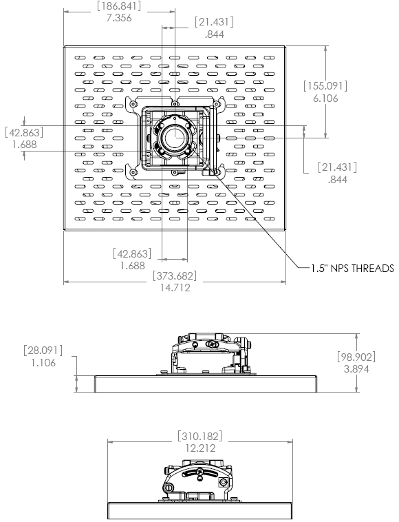Technical Drawing for Chief RPMA1 - RPA Elite Projector Security Mount