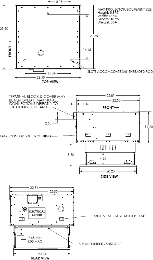 Technical Drawings for Chief SL151 SMART-LIFT Automated Projector Mount SL-151
