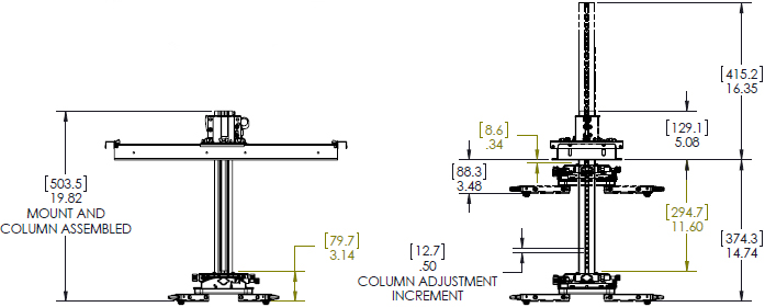 Technical drawing for Chief SYSAUB or SYSAUW Suspended Ceiling Projector System