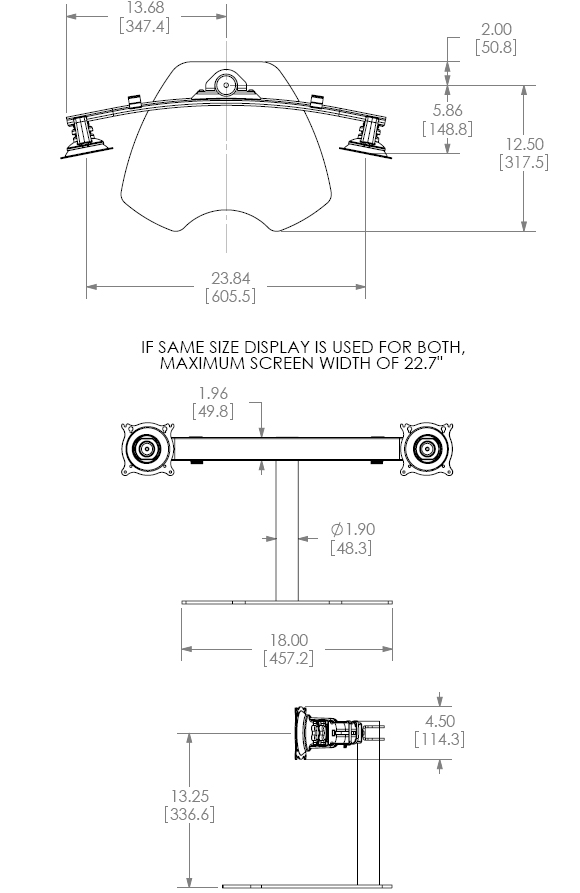 Technical drawing for Chief KTP220S or KTP220B Table Stand Flat Panel Dual Horizontal Monitor Mounts