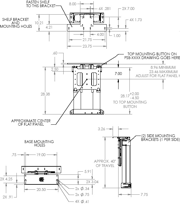 "Technical Drawing for Chief CM2L40U Flat Panel Automated Pop-Up Lift for 32"" to 61"" Displays"