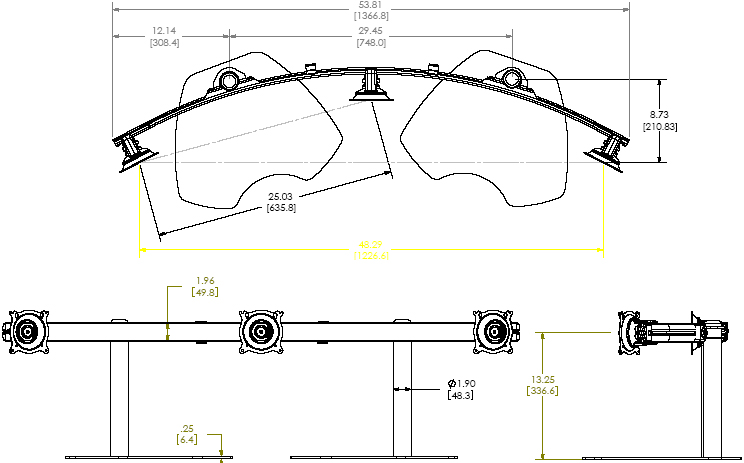 Technical Drawing of Chief KTP-325B or KTP-325S Triple Monitor Widescreen Horizontal Table Stand