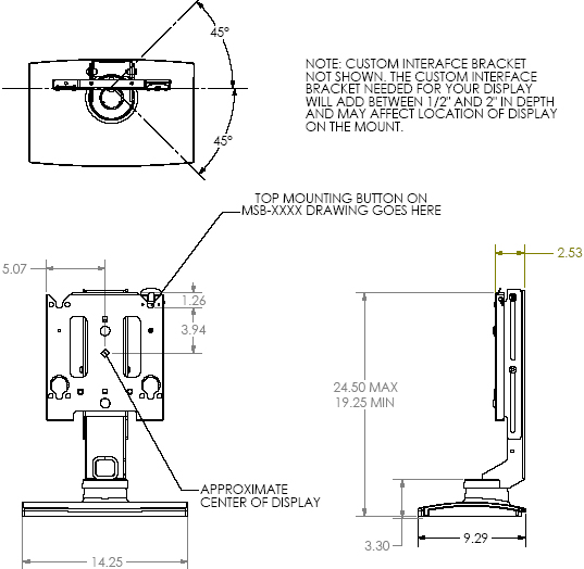 Technical Drawing of Chief MSS6000 Medium Swivel Table Stand (without interface)