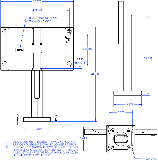Technical Drawing of Chief MTSAVB or MTSAVS Medium Security Bolt Down Table Stand