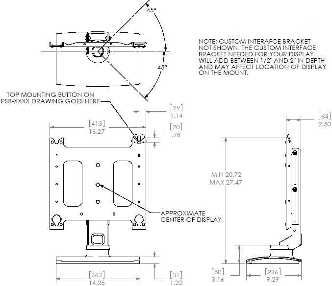 Technical Drawing of Chief PSS2000 Large Swivel Table Stand (without interface)