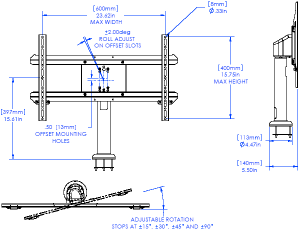Technical Drawing of Chief STLU Medium Security Bolt Down Table Stand