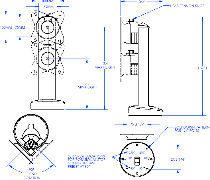 Technical Drawing of Chief STS1 Small Security Bolt Down Table Stand