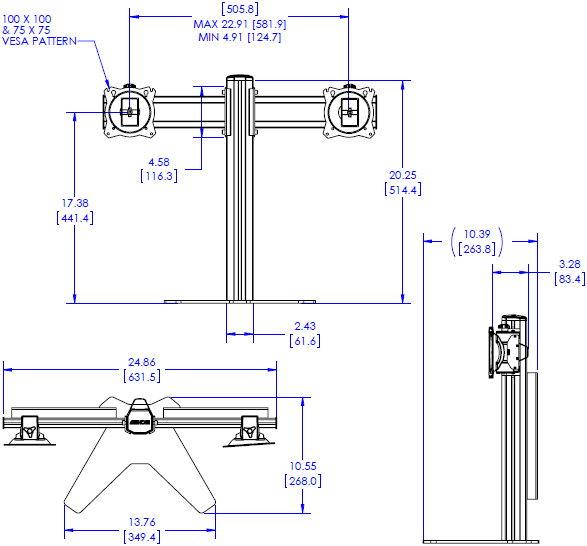 Drawing for Chief DSR210B FIT Series Dual Monitor Desk Stand
