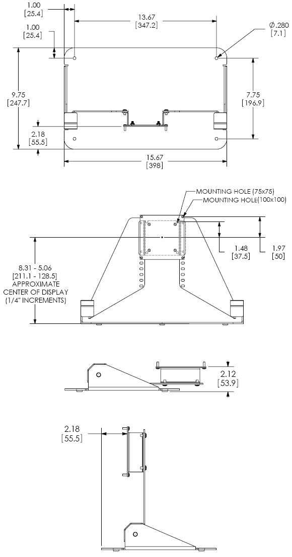 Technical Drawing for Chief FSB018BLK Single Display Floor Stand
