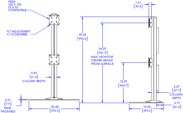 Technical Drawing for Chief K3F120B KONTOUR Free Standing Mounted 1x2 Array