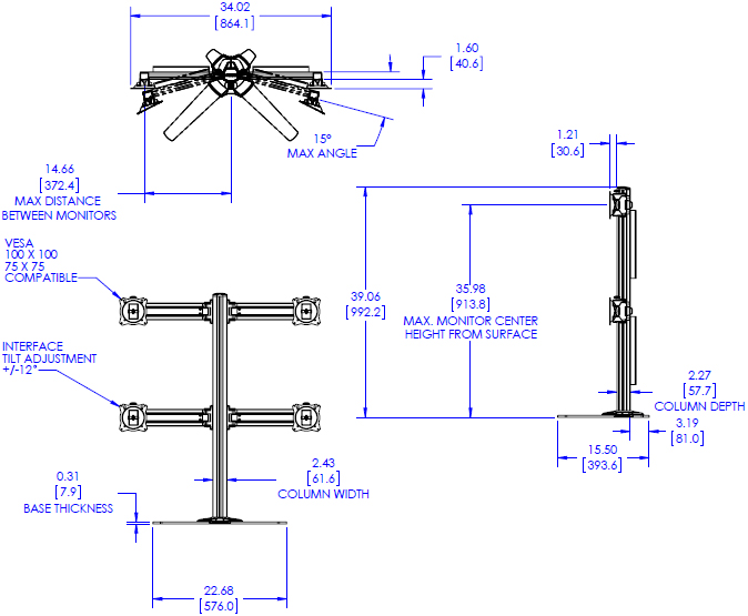 Technical Drawing for Chief K3F220B KONTOUR Free Standing 2x2 Array