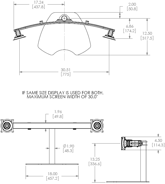 Technical Drawing for Chief KTP225B Table Stand Flat Panel Dual Widescreen Monitor Mounts