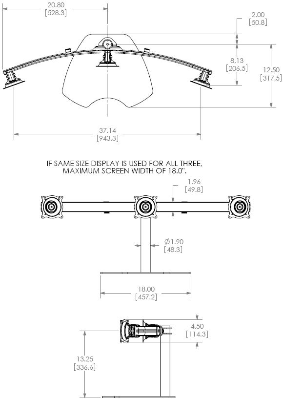 Technical drawing for Chief KTP320B Table Stand Flat Panel Triple Horizontal Monitor Mounts