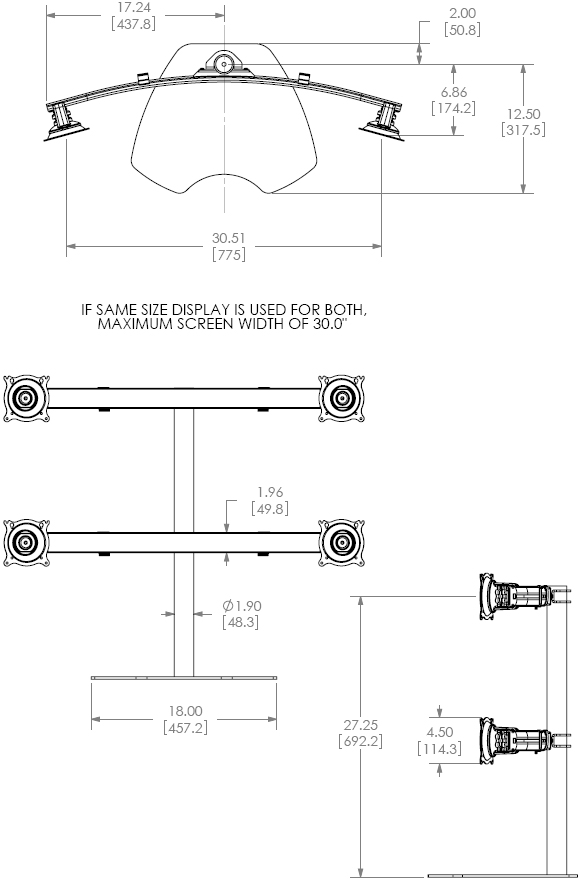 Technical Drawing for Chief KTP445 Widescreen Quad Monitor Table Stand