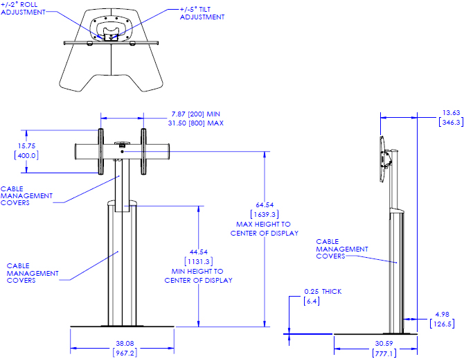 Technical Drawing for Chief LFAU Large FUSION Manual Floor Stand