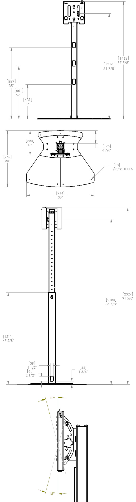 Technical Drawing for Chief MF1US Floor Stand Mount