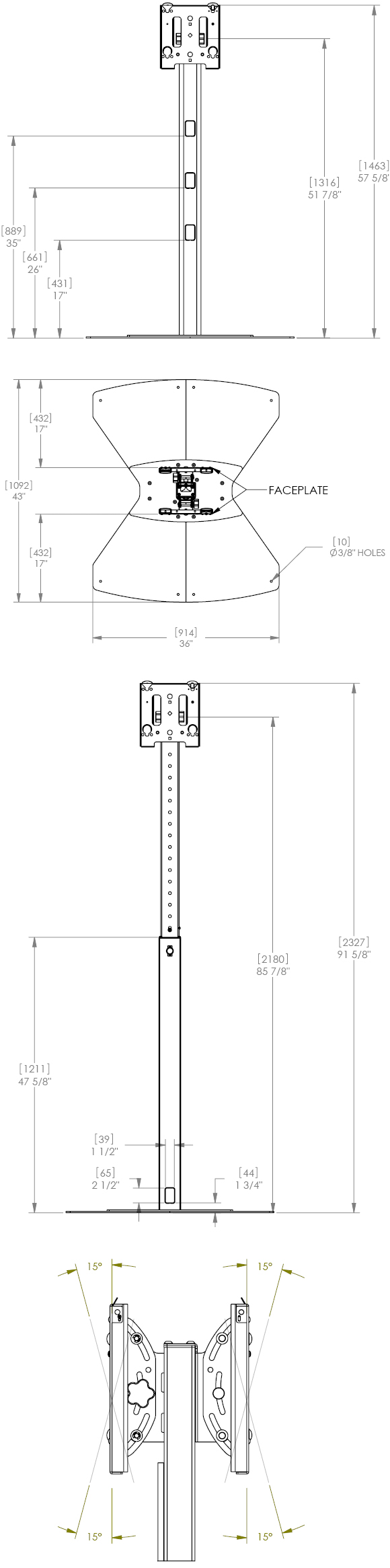Technical Drawing for Chief MF2 series Dual Displays Floor Stand Mount