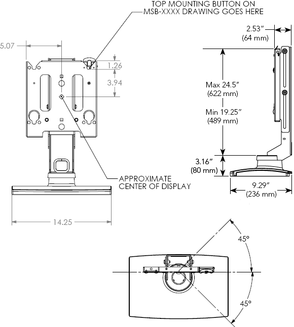 Technical Drawing for Chief MSSUB LCD Swivel Table Stand