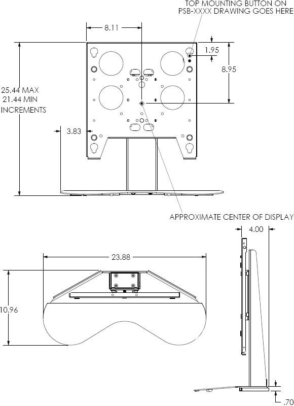 Technical Drawing for Chief PTSU Large Display Table Stand