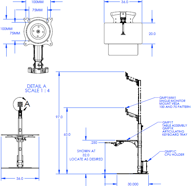 Technical Drawing for Chief QMP1PK2B Pre-Configured Fixed Base Workstation