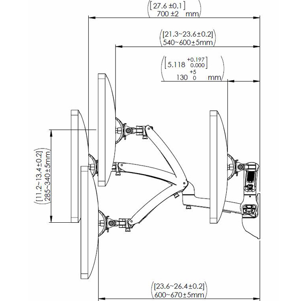 Technical drawing for Cotytech MW-GS41A Apple Monitor Dual Spring Arm Wall Mount