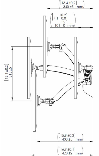 Technical drawing for Cotytech MW-GSA Apple Monitor Single Spring Arm Wall Mount